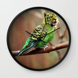 Tiger Parakeet Wall Clock