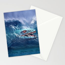 Mosasaurus attacks Surfer in a Wave Stationery Cards