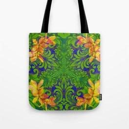 Lush Floral Plumeria Mandala Tote Bag