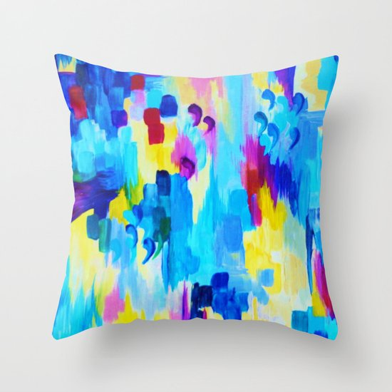 DONT QUOTE ME, Revisited - Bold Colorful Blue Pink Abstract Acrylic Painting Gift Art Home Decor  Throw Pillow
