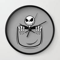 jack skellington Wall Clocks featuring Jack Skellington pocket by Buby87