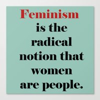 feminism Canvas Prints featuring Feminism  by Illustrated by Jenny