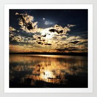 Calm Sunset Pond Reflections Art Print