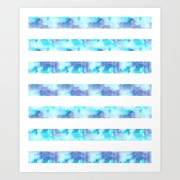 Blue & Purple Watercolor Stripes Art Print