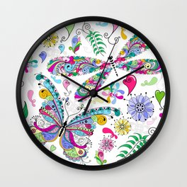 Floral Butterflies Wall Clock