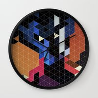 nightcrawler Wall Clocks featuring Geometric Nightcrawler by Head Glitch