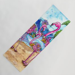 The Flamingo Family's Day at the Beach Yoga Mat