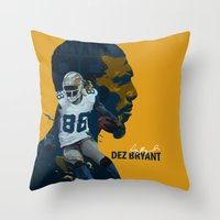 nfl Throw Pillows featuring Dez Bryant by bonksy