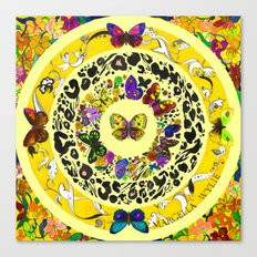 Floral Butterflies - Lemon Yellow Canvas Print