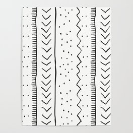 Moroccan Stripe in Cream and Black Poster