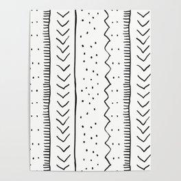 Moroccan Stripe in Cream and Black Poster