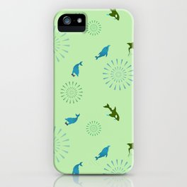 Green Orca and Dolphin iPhone Case