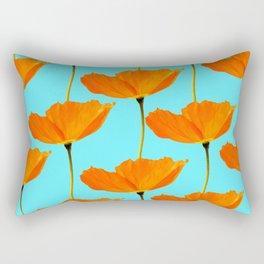 Poppies On A Turquoise Background #decor #society6 #buyart Rectangular Pillow