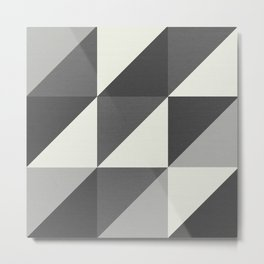 Shades of Grey Triangle Geometric Pattern Metal Print