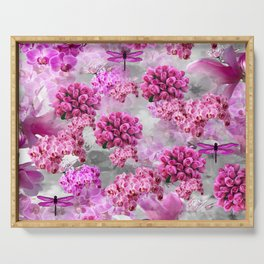 ORCHIDS ROSES AND MAGNOLIAS PINK Serving Tray