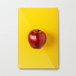 Red Apple on Yellow Metal Print