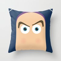 buzz lightyear Throw Pillows featuring PIXAR CHARACTER POSTER - Buzz Lightyear - Toy Story by Marco Calignano