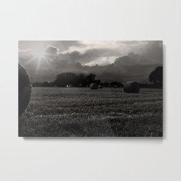 Summer Harvest. Norfolk England  Monochrome Metal Print