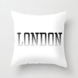 London Text Black Fade to White Throw Pillow