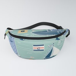 Nautical Sailing in Mint Fanny Pack