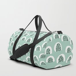 Minty Melon love abstract brush paint strokes yellow ochre Duffle Bag