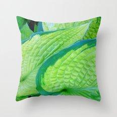 Flower | Flowers | Green Hostas | Leaves Throw Pillow