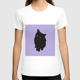 Cheeky Black Cat Lilac T-shirt