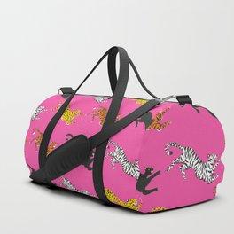 Pink Big Cat Pattern Duffle Bag