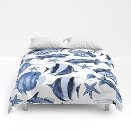 Fish Underwater Watercolor Pattern Comforters