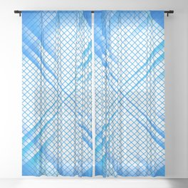 Stay Focused - Abstract Geometric Blue Sheer Curtain