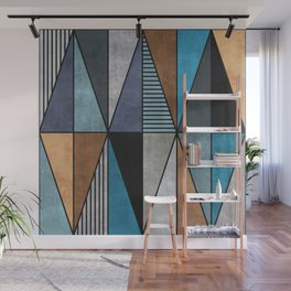 Colorful Concrete Triangles - Blue, Grey, Brown Wall Mural