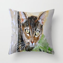 The Curious Tabby Cat Throw Pillow