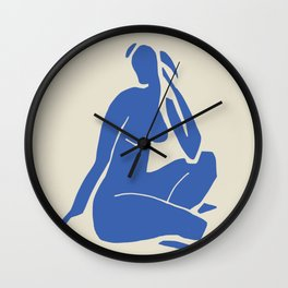 Nude in blue cut out Wall Clock