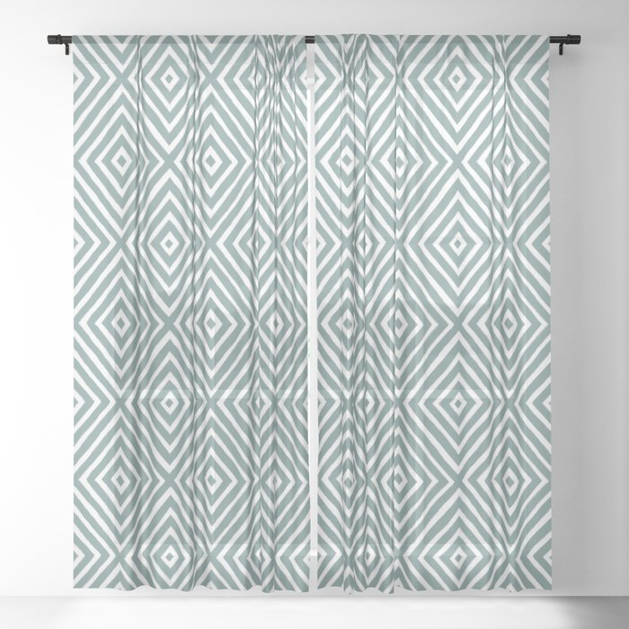 diamond painted-blue Sheer Curtain