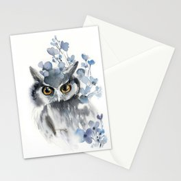 Owl and blue florals Stationery Cards