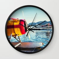 planes Wall Clocks featuring Float Planes by Shaun Lowe
