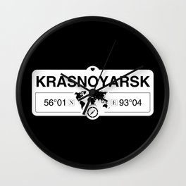 Krasnoyarsk Krai with World Map GPS Coordinates and Compass Wall Clock