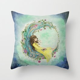 The Girl At The Moon Throw Pillow