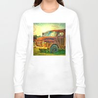 truck Long Sleeve T-shirts featuring Old Rusty Bedford Truck by Wendy Townrow