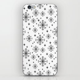Snowflakes winter christmas minimal holiday black and white decor gifts iPhone Skin