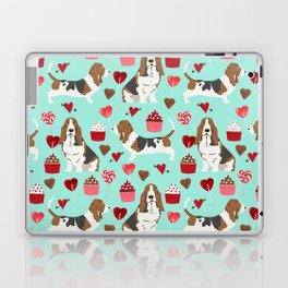 Basset Hound valentines day cute gifts for dog lover pet portrait dog breed custom illustration Laptop & iPad Skin