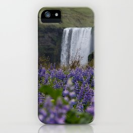 Skógafoss through the Lupines iPhone Case