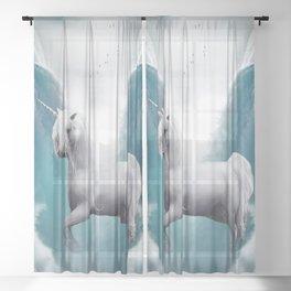 Unicorn and Waterfalls Sheer Curtain