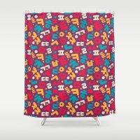 korean Shower Curtains featuring Korean alphabet pattern by Sudjino