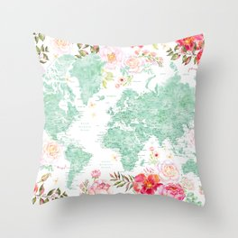 Mint green and hot pink watercolor world map with cities Throw Pillow