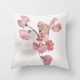 Sweet Pea Flower with Pink Petals Throw Pillow