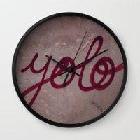 yolo Wall Clocks featuring Yolo by HMS James