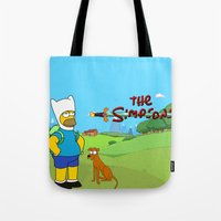simpsons Tote Bags featuring The simpsons Time by Lexatchison
