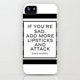 Fashion Quote  Fashion Print Fashionista Girl Bathroom Decor Girl Room Decor CC Lipstick Quote iPhone Case