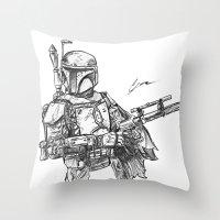 boba fett Throw Pillows featuring Boba Fett by Leamartes
